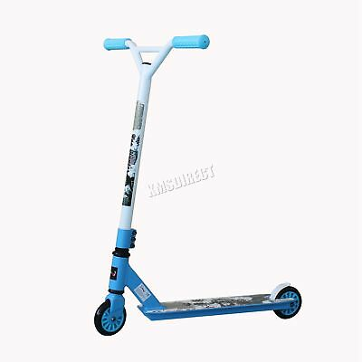 FoxHunter Kids Adult Pro Push 360 Degree Fixed Bar Stunt Scooter Trick Blue New