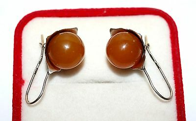 Soviet USSR Vintage Magic AMBER EARRINGS SILVER 875 Russian RARE Antique