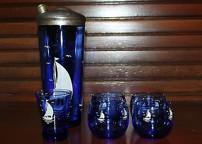 Hazel Atlas Cobalt Blue Sailboats Cocktail Set