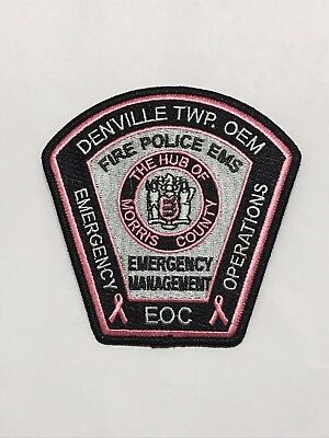 Denville Emergency Management pink cancer awareness police patch - 2018 issue.