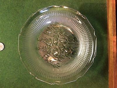 "VERY RARE flat soup bowl 7 7/8"" diameter Iris and Herringbone Jeannette glass"