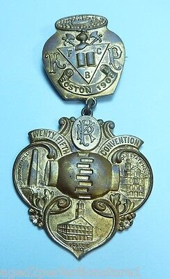 Antique 1908 Knights of Pythias Medallion Medal Pin 25th Convention Boston