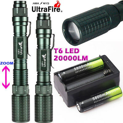 30000LM Zoomable T6 LED 18650 Flashlight Torch+18650 BTY+Charger Hunting Lamp