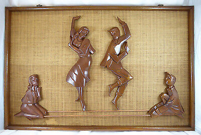 Vintage Mid Century MCM Wood Carved Wall Hanging Family Playing together~ RARE