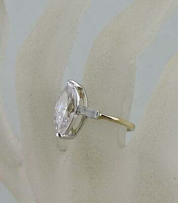 Vintage Ring Solitaire Style White Marquise Cut Rhinestone 14K Gold Plated Sz 8
