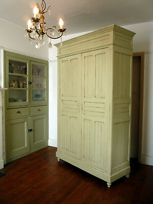 Painted Antique French Armoire Wardrobe Cupboard