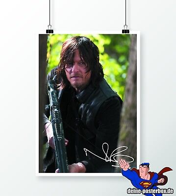 Signiertes Daryl Dixon Poster Norman Reedus The Walking Dead Fanartikel DIN A3