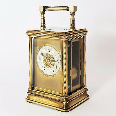 Antique French Cannelee Cased Beaded Striking Carriage Clock C.1895
