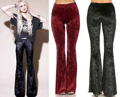 Soft VELVET Bell Bottoms Stretch Pull On Flare Long Mid-Rise Pants Boho Gypsy