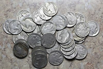 Buffalo Nickel 5c, Full Roll lot of 40 mostly part some full date, PDS mintmarks