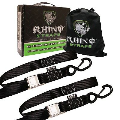 RHINO USA Cambuckle Motorcycle Tie Down Straps (2 Pack)  3,328lb Break Strength!