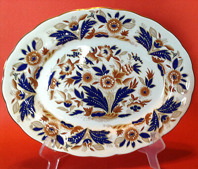 Booths Dovedale 12 Inch Oval Serving Platter - Cobalt Blue And Brown