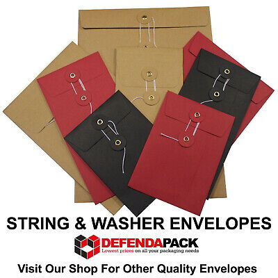 C6 Red Black White Manila String and Washer Envelopes Button & Tie 162mm x 114mm