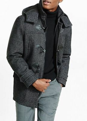 New $298 MEN'S EXPRESS tech toggle water resistant wool tweed coat size L