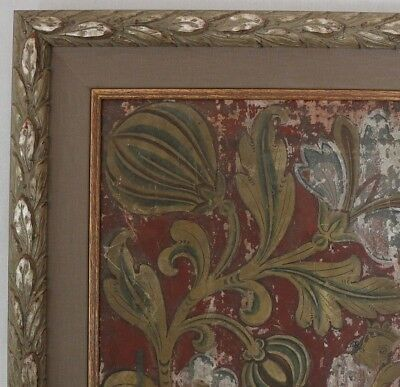 Antique buddhist temple ceiling painting framed