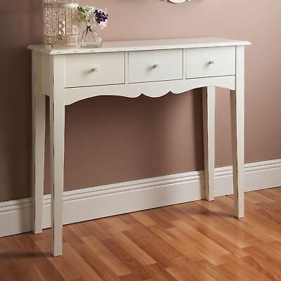 Shabby Chic White Console Hall Table Side End Wooden Dressing Desk 3 Drawers