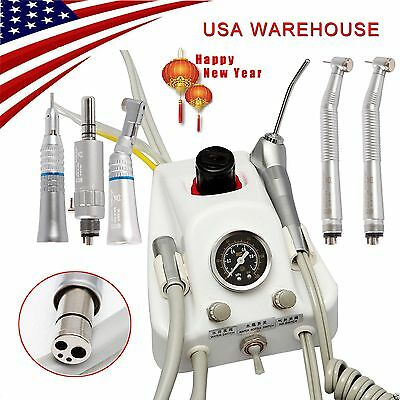 Dental Portable Air Turbine Unit 4H & High-Low Speed Handpiece USA STOCK YazMJ