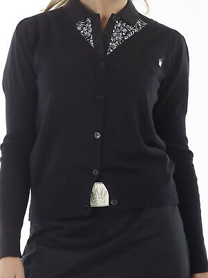 Bunker Mentality Crown Cotton Ladies Golf Cardigan - Black