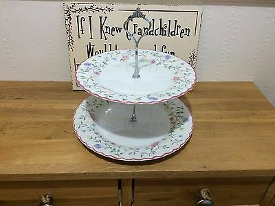Shabby Chic 2 Tier Cake Stand Johnson Summer Chintz Silver Fittings