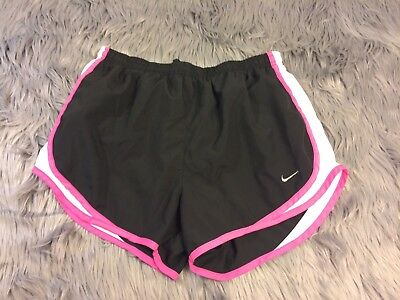 NIKE Running DRI FIT ATHLETIC SHORTS Black Pink Trim WOMENS SIZE M 3""