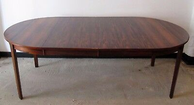 DANISH MODERN ROUND ROSEWOOD EXTENSION DINING CONFERENCE TABLE mid century