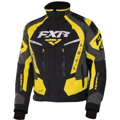 FXR Team FX Mens Snow Jacket Black/Yellow/Charcoal Gray
