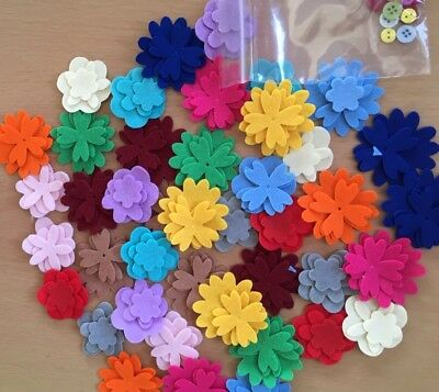 Over 40 Three Layered Flowers  With Buttons . See Your Own