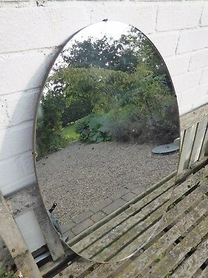 "Large Oval Frameless Mid Century Mirror 32"" x 21.5"""