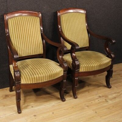 Antique pair armchairs furniture chairs living room wood mahogany stools 800 XIX