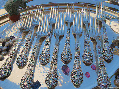 One Large Fork Gorham Old Medici Sterling Silver Flatware Heavy Masks Figurines