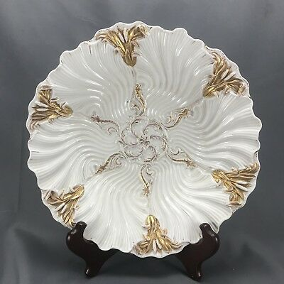 "Meissen German HP Cat Tails Scallops & Gold Geometric 10"" Serving Bowl 19th C"