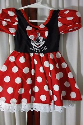 Walt Disney Kids Dress- 12 mo-Minnie Mouse-Red/White Dots-VG-GREAT COSTUME-SALE