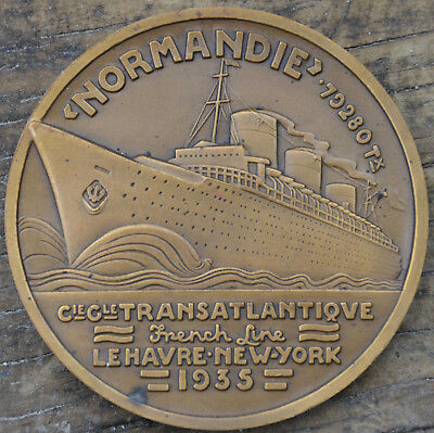 Art deco bronze medal of passenger liner Normandie