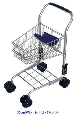 Blue Metal Shopping Supermarket Trolley Cart Pretend Play Kids Toy