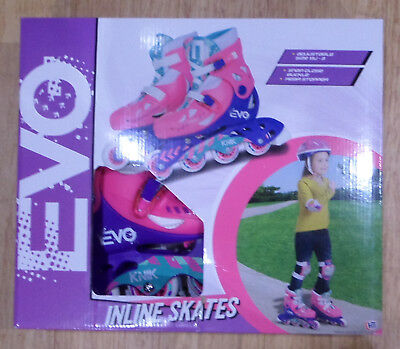 EVO Girls Inline Skates Adjustable Size 13J - 3 Brand New