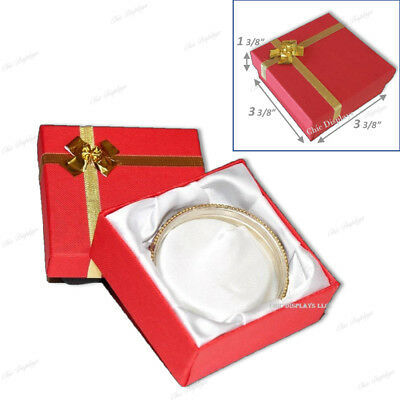 LOT OF (3) RED BRACELET BOX BANGLE BOX w/BOW TIE JEWELRY BOX RED WATCH BOX~DEAL~