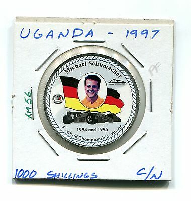 Uganda : 1000 Schillings 1997 Proof (KM 56) - Multicolor Michael Schumacher