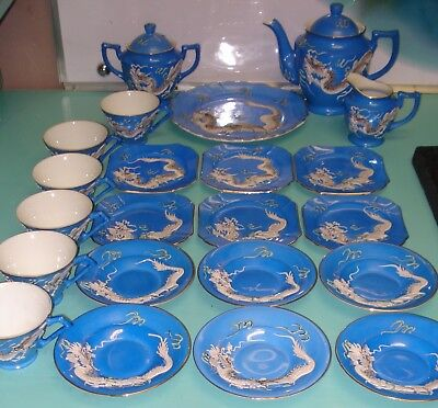 24pc Complete Moriage Cobalt blue satsuma Dragon relief TUDOR tea set pot cup