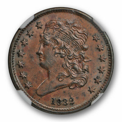 1832 Classic Head Half Cent NGC MS 61 Uncirculated US Type Coin