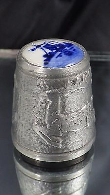 Vintage Porcelain Delft Blue Windmill Pewter Deer Collectible Sewing Thimble