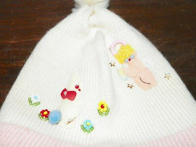 Infant Girls Vintage 50s Stocking Cap with Chin Ties & Embellishments Pink Ivory