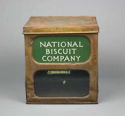 Antique National Biscuit Company Display Box, Tin, Glass Front, Early 20th C.