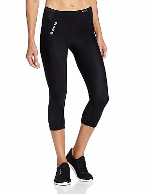 SKINS Women's A400 Compression 3/4 Tights, Black w/ Silver, MH