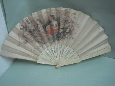 Antique fan hand painted  on cloth two children is signed