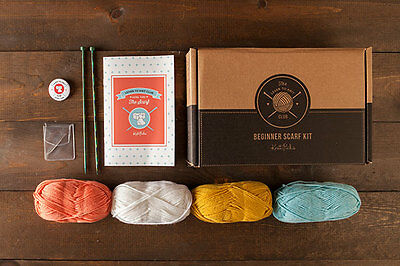 NEW Knitting Kit Learn to Knit Scarf Merino yarn