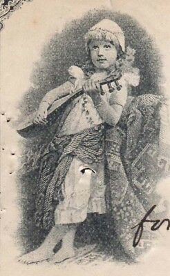 Girl with lute, 1893 bank check to B&O Railroad