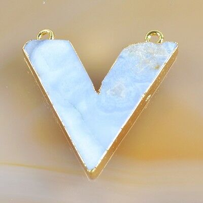 V-Shape Natural Blue Lace Chalcedony Connector Gold Plated B037632