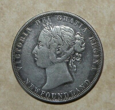 Newfoundland 1882 H 50 Cents Silver Rare 100,000 Minted Coin Canada Antique Lot
