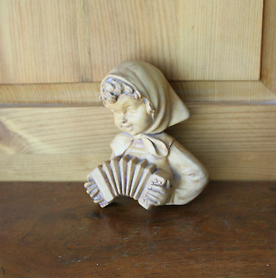 Vintage Girl Playing Accordion Bust Sculpture Carved Wood/Resin Wall Hanging