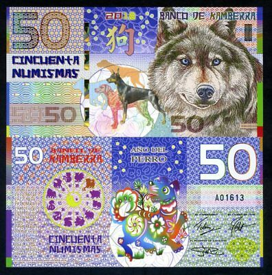 Kamberra, POLYMER, 50 Numismas, 2018 China Lunar Year, UNC > Dog